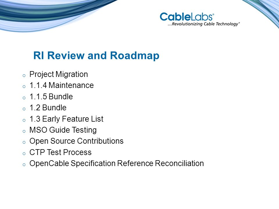 OpenCable Specification Reference Reconciliation - Mark Dulapa Cable Television Laboratories, Inc.