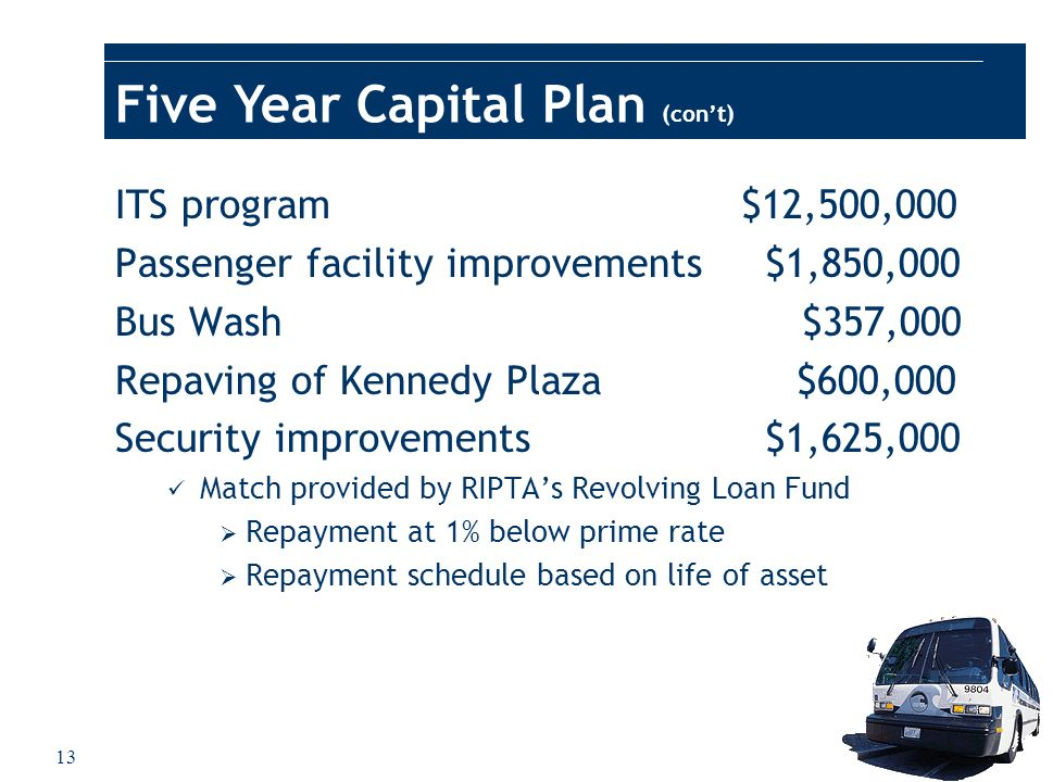 13 Five Year Capital Plan (cont) ITS program $12,500,000 Passenger facility improvements $1,850,000 Bus Wash $357,000 Repaving of Kennedy Plaza $600,0