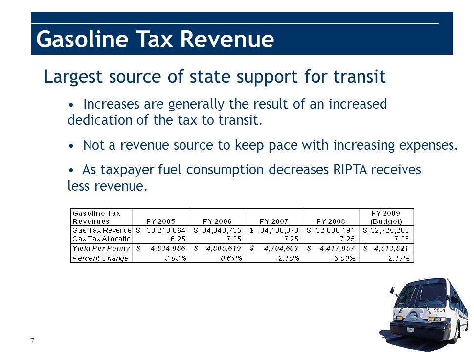 7 Largest source of state support for transit Increases are generally the result of an increased dedication of the tax to transit. Not a revenue sourc