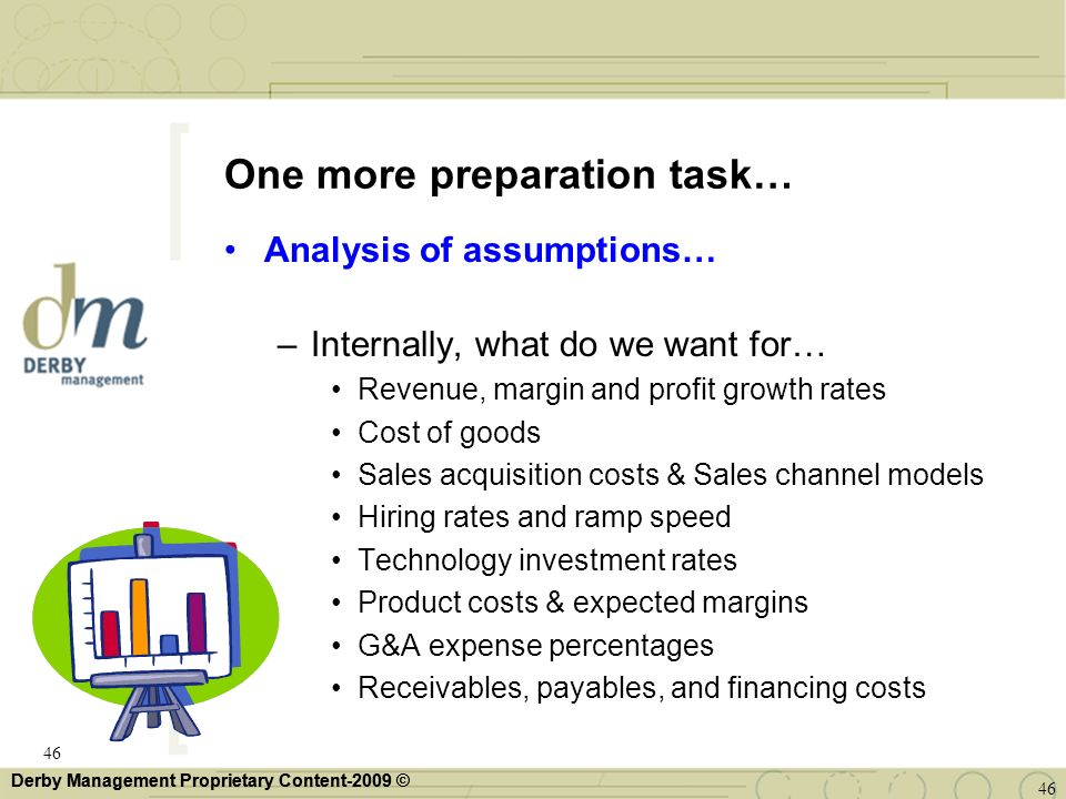 Derby Management Proprietary Content-2009 © One more preparation task… Analysis of assumptions… –Internally, what do we want for… Revenue, margin and