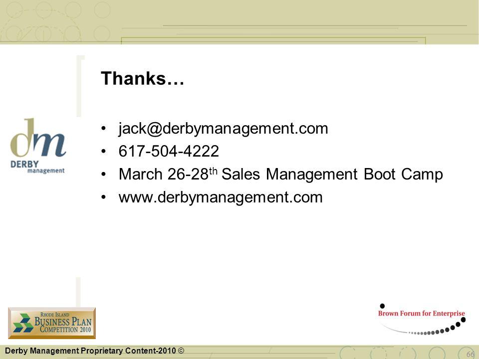 Derby Management Proprietary Content-2010 © jack@derbymanagement.com 617-504-4222 March 26-28 th Sales Management Boot Camp www.derbymanagement.com Th