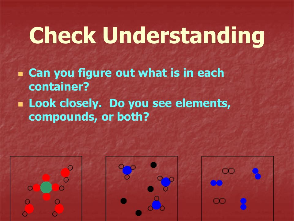 Check Understanding Can you figure out what is in each container? Look closely. Do you see elements, compounds, or both?
