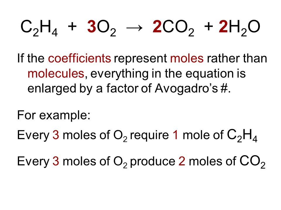 C 2 H 4 + 3O 2 2CO 2 + 2H 2 O If the coefficients represent moles rather than molecules, everything in the equation is enlarged by a factor of Avogadr