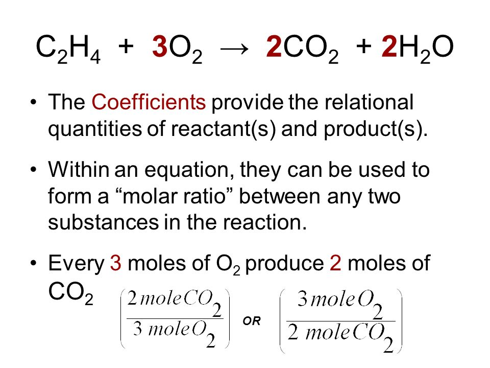 C 2 H 4 + 3O 2 2CO 2 + 2H 2 O The Coefficients provide the relational quantities of reactant(s) and product(s). Within an equation, they can be used t