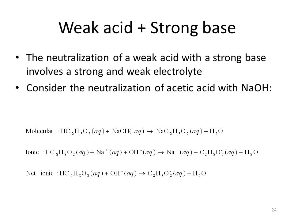 Weak acids and bases are in dynamic equilibrium in solution Consider the case of acetic acid: Two opposing reactions occur in solution: the ionization