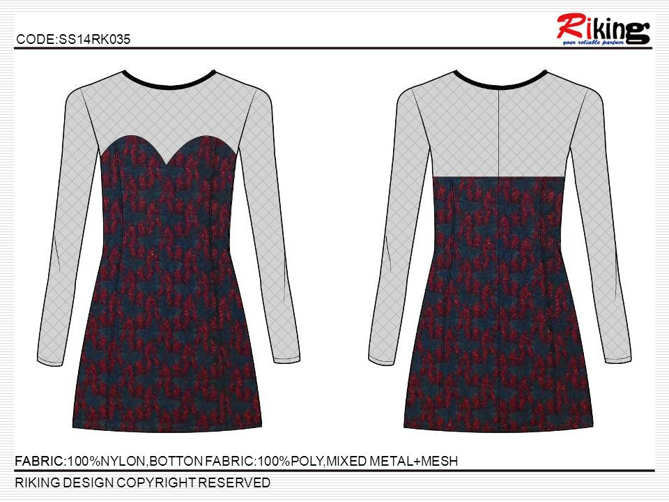 CODE:SS14RK035 RIKING DESIGN COPYRIGHT RESERVED FABRIC:FABRIC:100%NYLON,BOTTON FABRIC:100%POLY,MIXED METAL+MESH