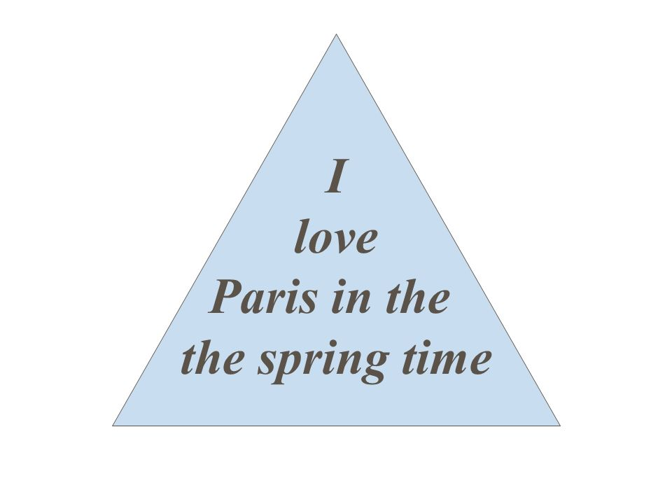 I love Paris in the the spring time