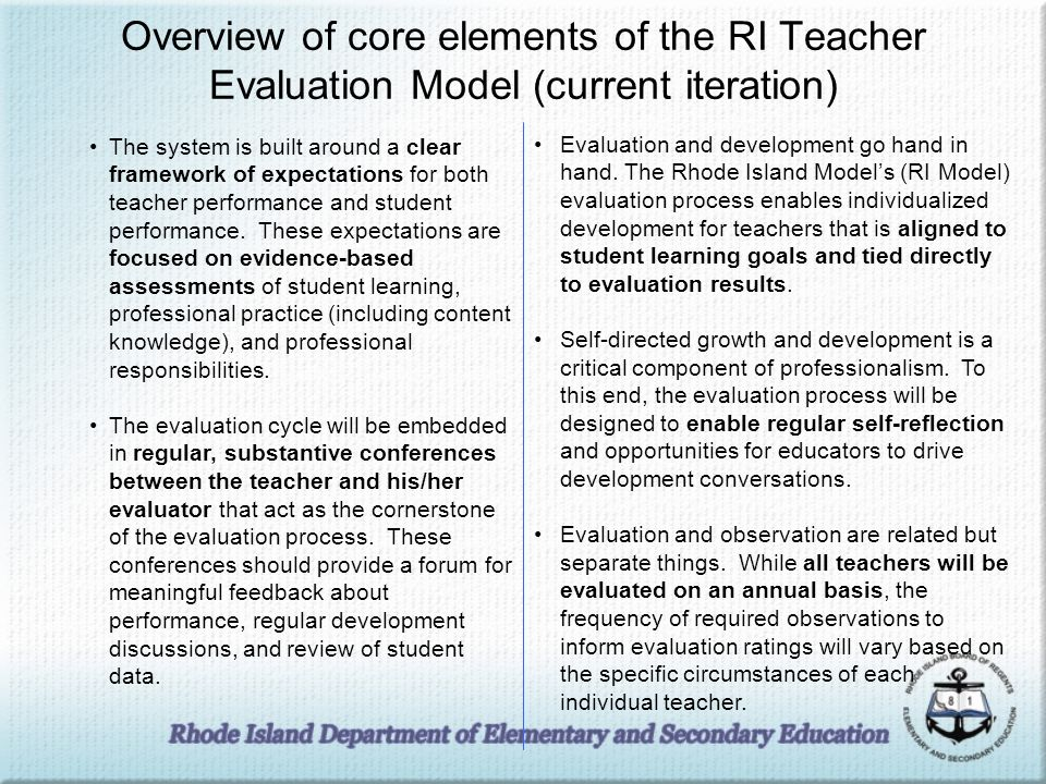 The Rhode Island Model High Quality Design Intensive Training ISPs to build capacity Validity Studies State-wide Participation in Development Continuous Model Refinement 1/3/2014