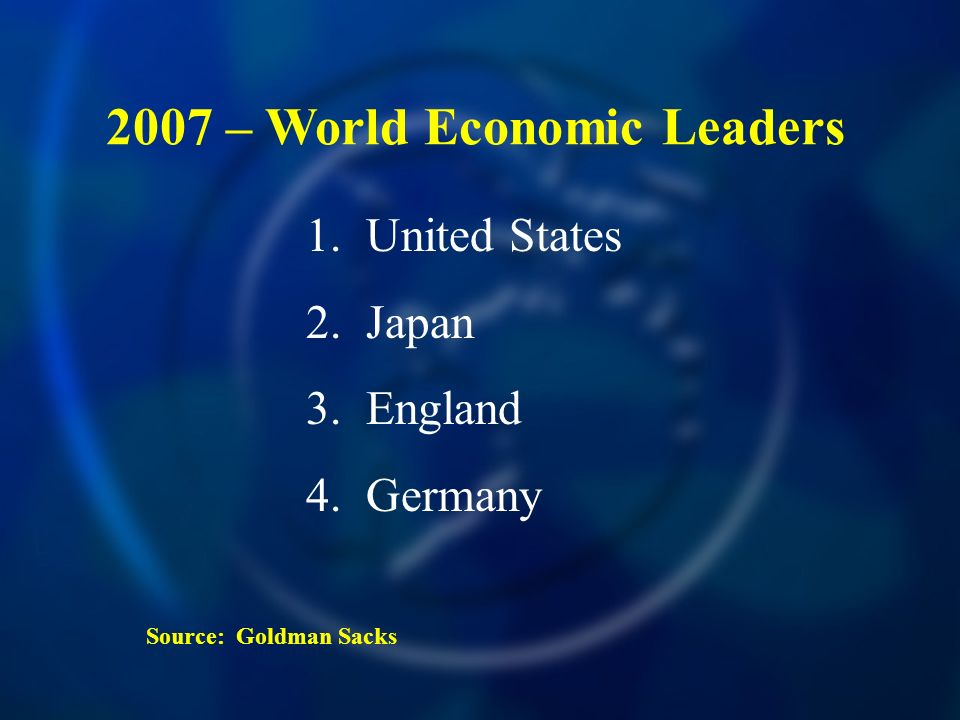 2007 – World Economic Leaders 1. United States 2. Japan 3. England 4. Germany Source: Goldman Sacks