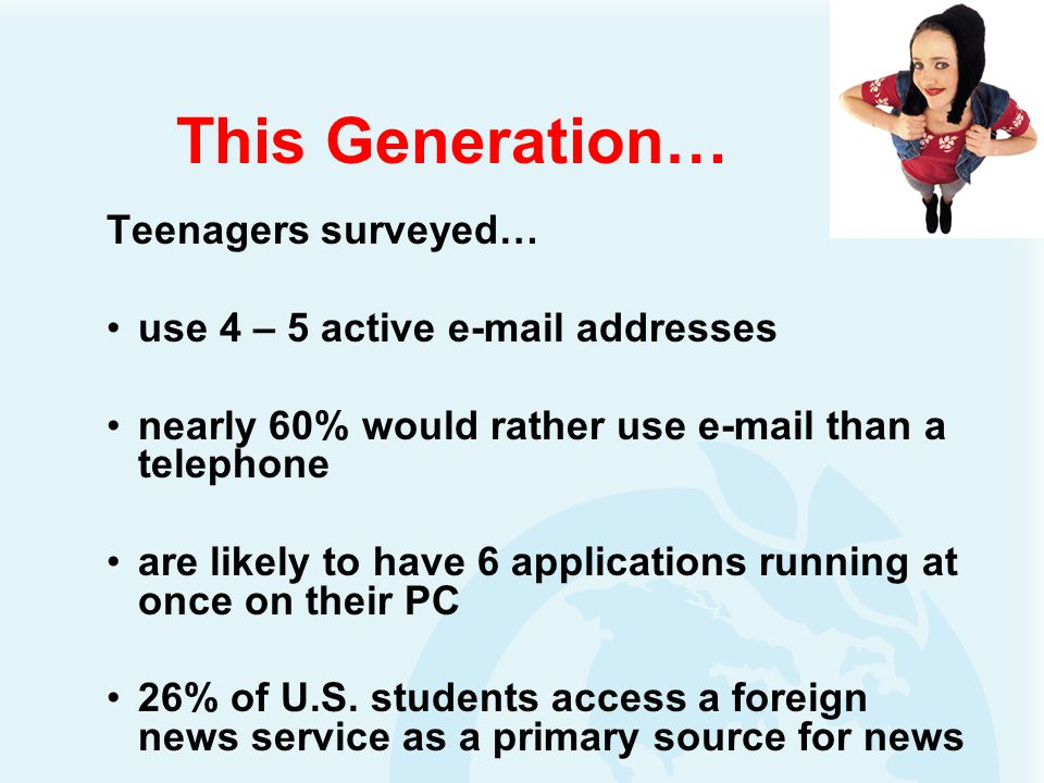 This Generation… Teenagers surveyed… use 4 – 5 active e-mail addresses nearly 60% would rather use e-mail than a telephone are likely to have 6 applications running at once on their PC 26% of U.S.