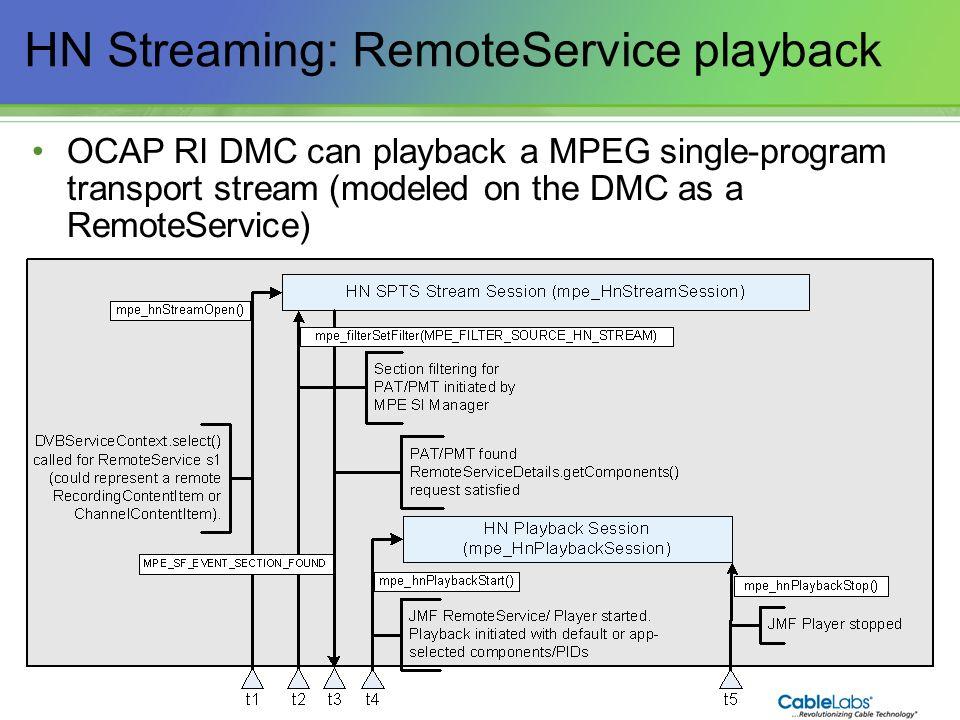 139 HN Streaming: RemoteService playback OCAP RI DMC can playback a MPEG single-program transport stream (modeled on the DMC as a RemoteService)