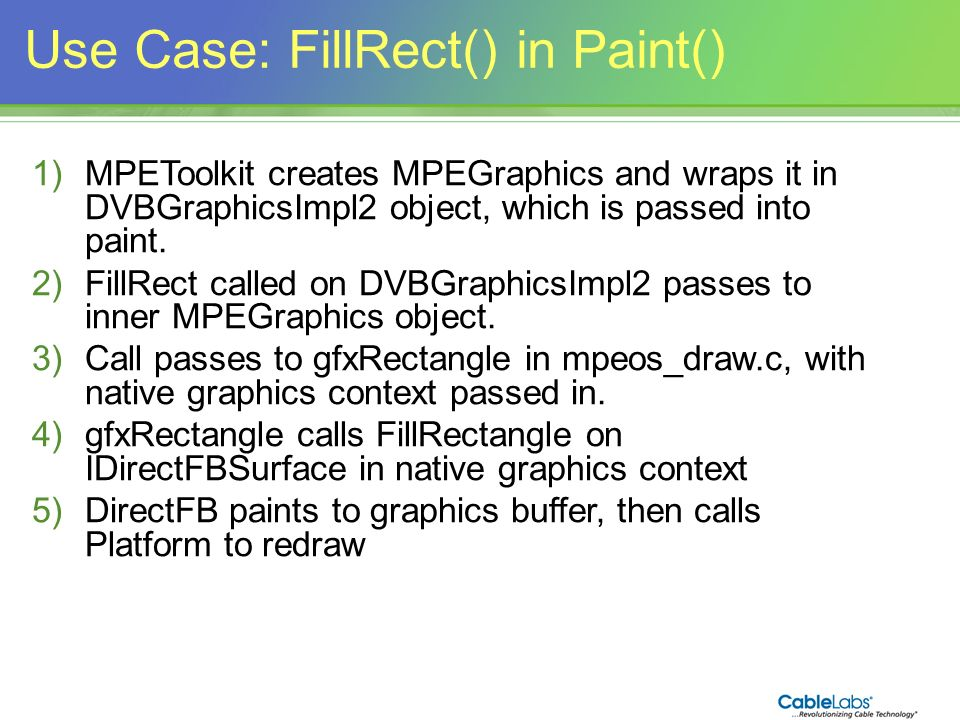 158 Use Case: FillRect() in Paint() 1)MPEToolkit creates MPEGraphics and wraps it in DVBGraphicsImpl2 object, which is passed into paint. 2)FillRect c
