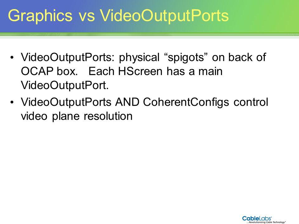 161 Graphics vs VideoOutputPorts VideoOutputPorts: physical spigots on back of OCAP box. Each HScreen has a main VideoOutputPort. VideoOutputPorts AND
