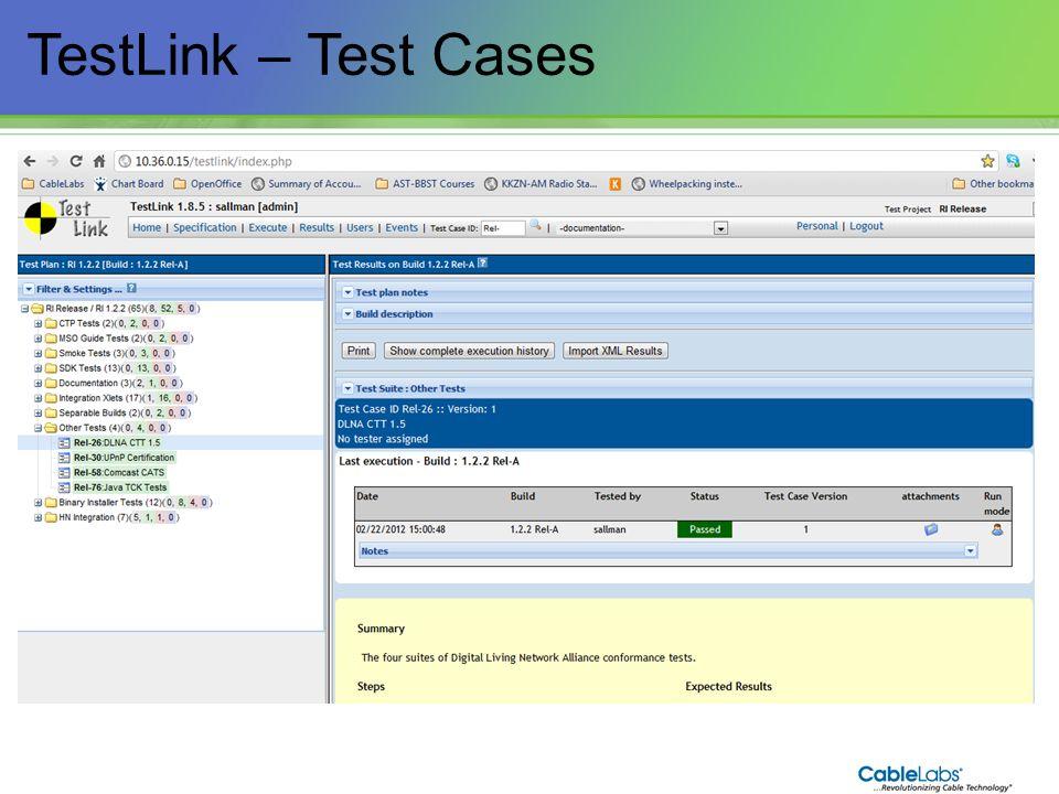 185 TestLink – Test Cases