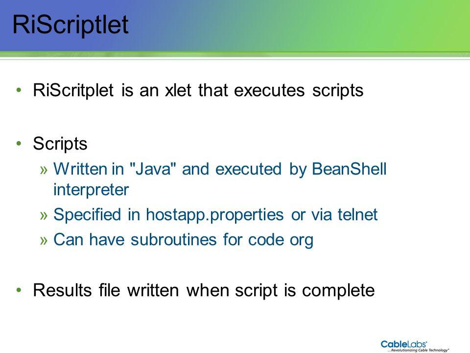 195 RiScriptlet RiScritplet is an xlet that executes scripts Scripts »Written in