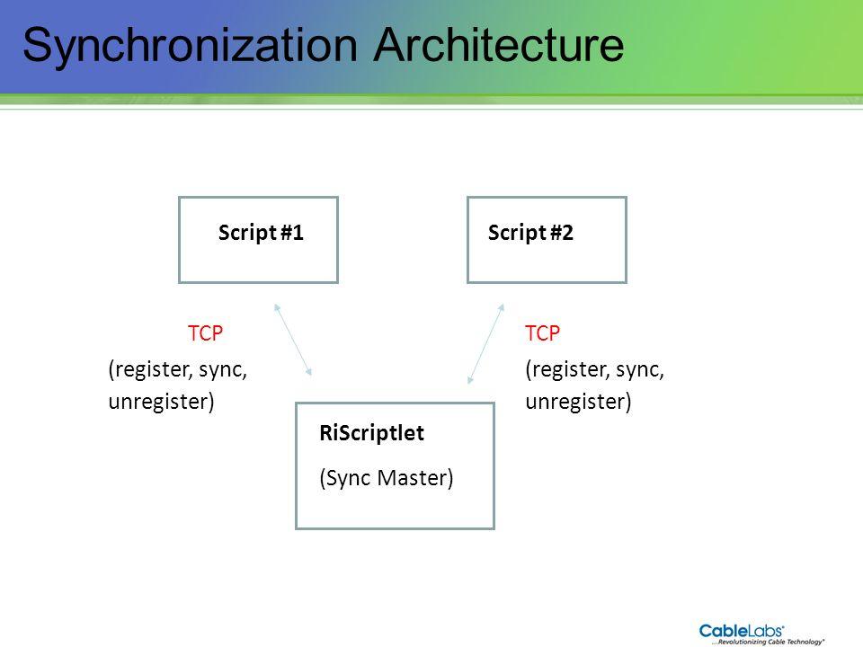 198 Synchronization Architecture Script #1 RiScriptlet (Sync Master) Script #2 TCP (register, sync, unregister) TCP (register, sync, unregister)