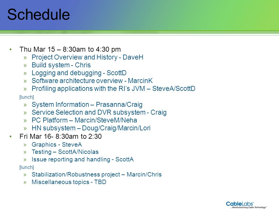 113 Home Networking Subsystem March 15-16, 2012