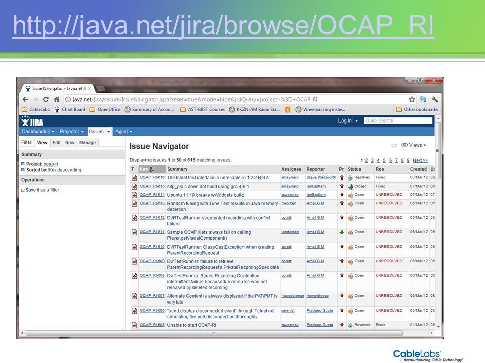 213 http://java.net/jira/browse/OCAP_RI