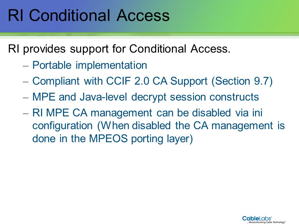 228 RI Conditional Access RI provides support for Conditional Access. – Portable implementation – Compliant with CCIF 2.0 CA Support (Section 9.7) – M