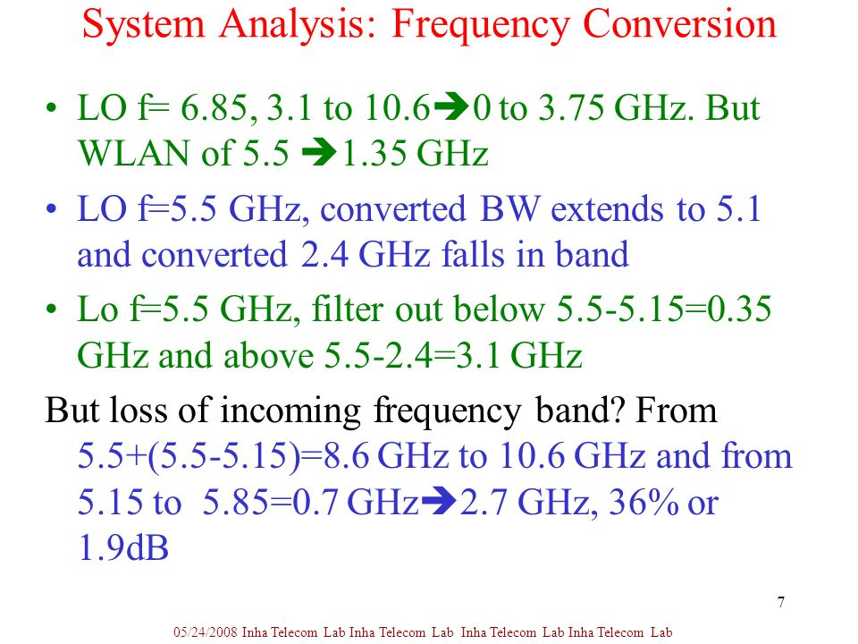 7 System Analysis: Frequency Conversion LO f= 6.85, 3.1 to to 3.75 GHz.
