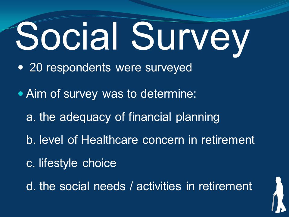 Social Survey 20 respondents were surveyed Aim of survey was to determine: a.