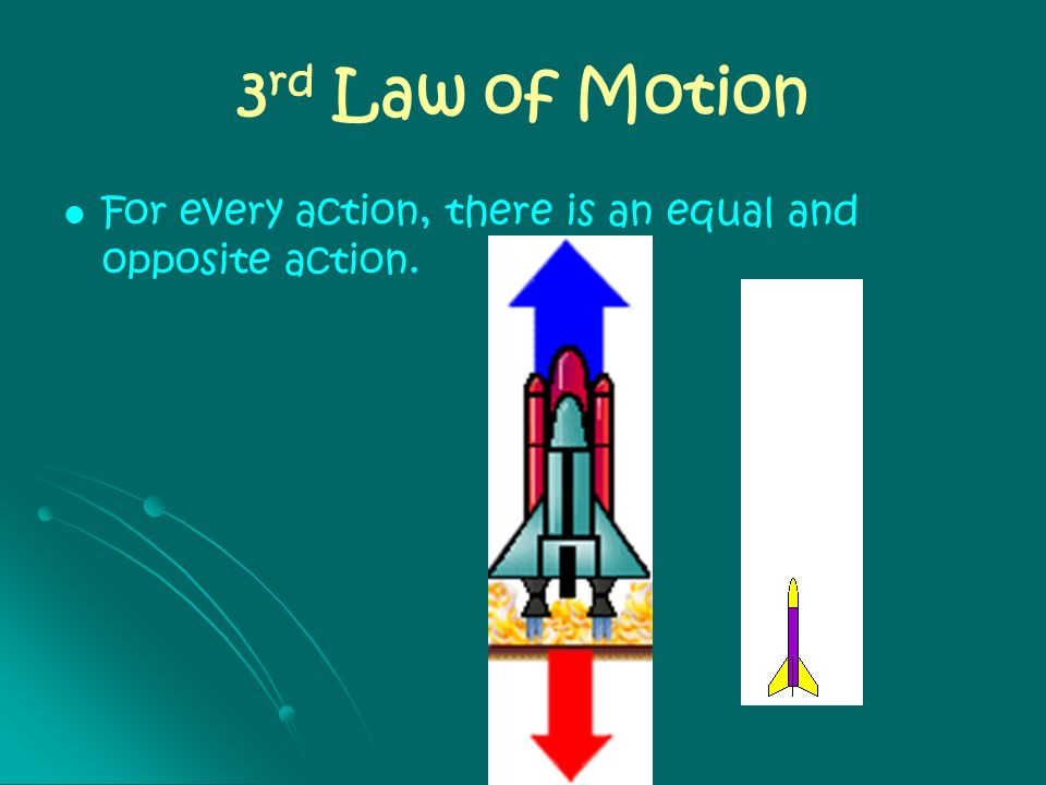 3 rd Law of Motion For every action, there is an equal and opposite action.