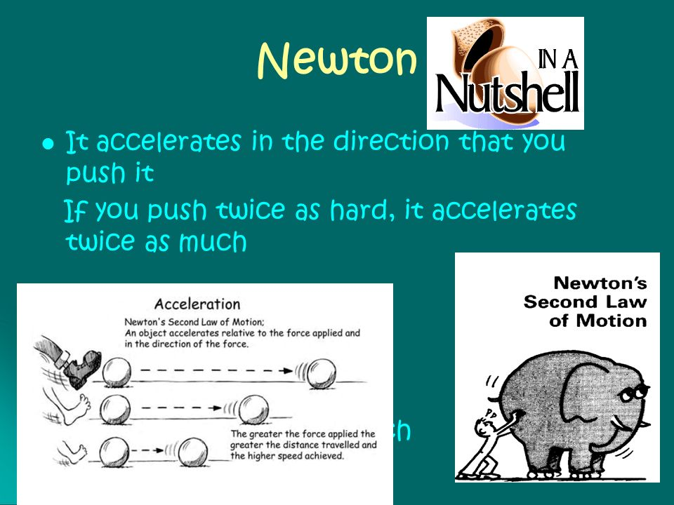 Newton It accelerates in the direction that you push it If you push twice as hard, it accelerates twice as much If it has twice the mass It accelerate