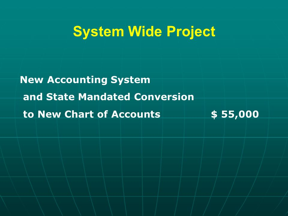 System Wide Project New Accounting System and State Mandated Conversion to New Chart of Accounts $ 55,000
