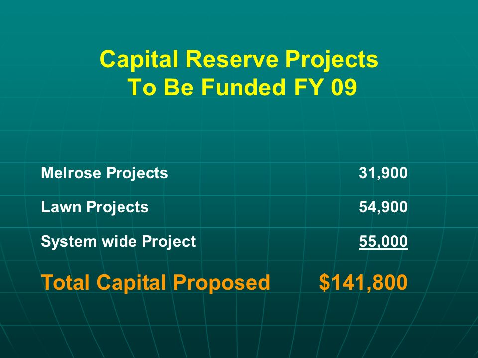 Capital Reserve Projects To Be Funded FY 09 Melrose Projects31,900 Lawn Projects54,900 System wide Project55,000 Total Capital Proposed$141,800