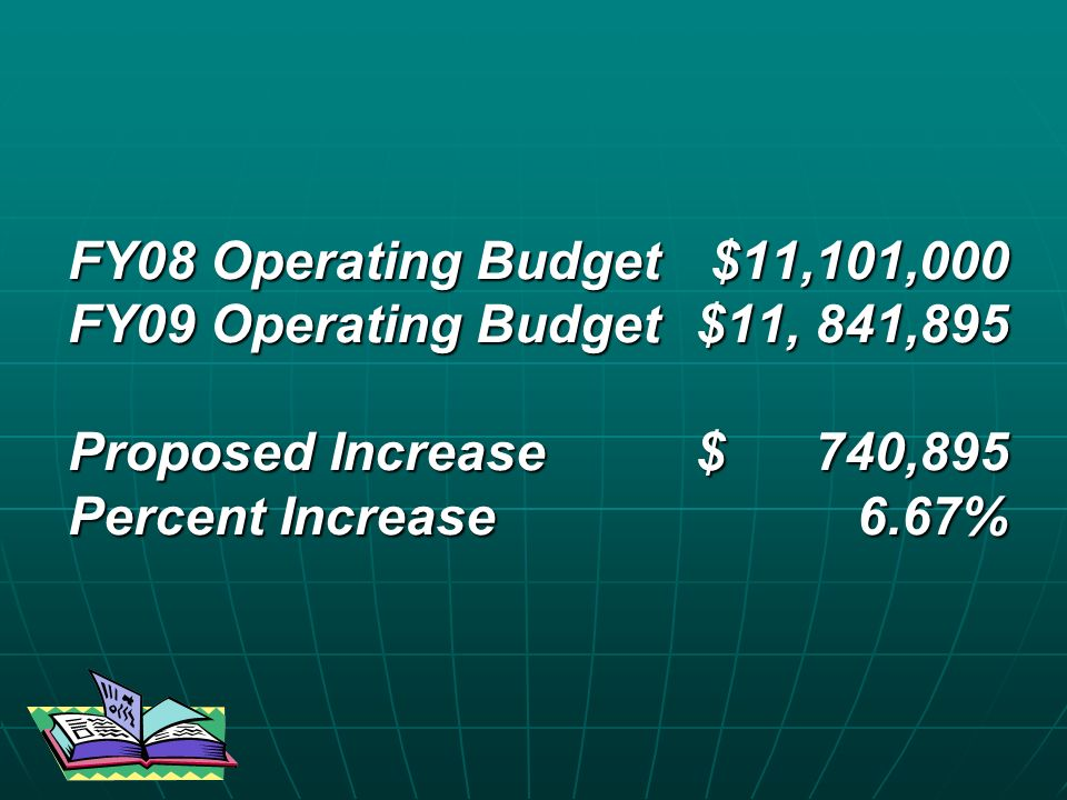 FY08 Operating Budget $11,101,000 FY09 Operating Budget$11, 841,895 Proposed Increase $ 740,895 Percent Increase 6.67%
