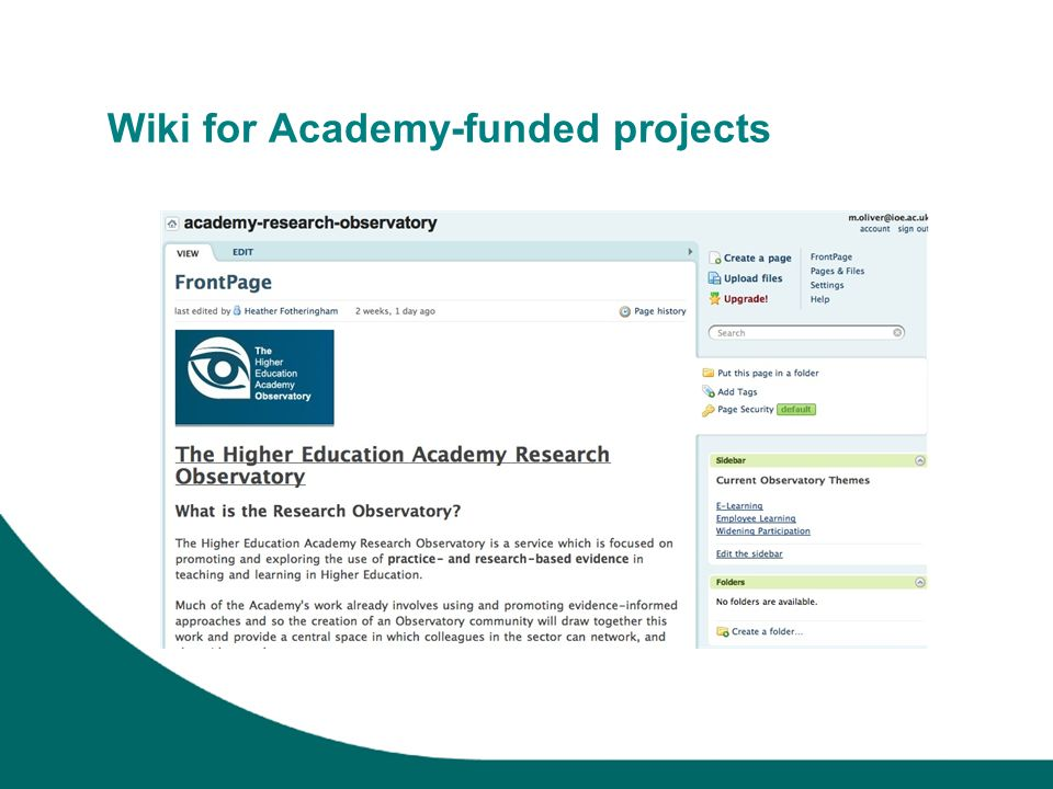 Wiki for Academy-funded projects