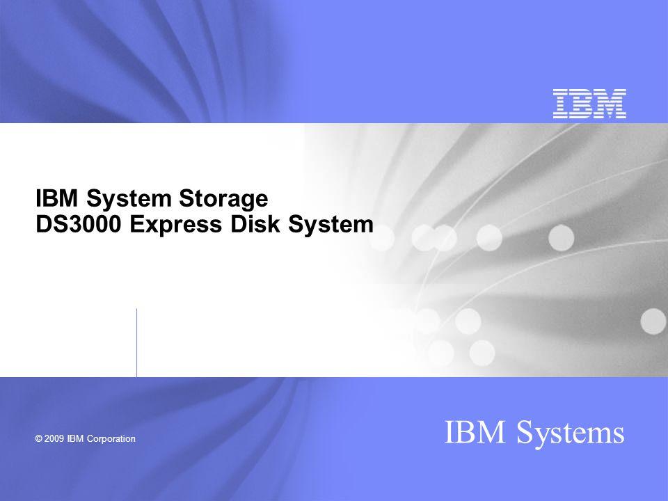 © 2009 IBM Corporation IBM Systems IBM System Storage DS3000 Express Disk System
