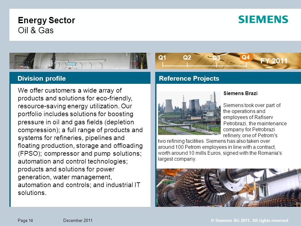 © Siemens AG 2011. All rights reserved December 2011Page 14 Energy Sector Oil & Gas Division profileReference Projects FY 2011 Q1 Q4 Q2 Q3 We offer cu