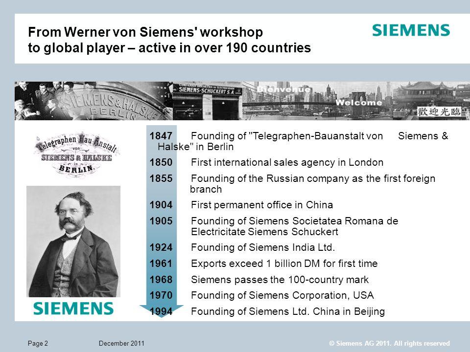 December 2011Page 2 1847 Founding of ''Telegraphen-Bauanstalt von Siemens & Halske