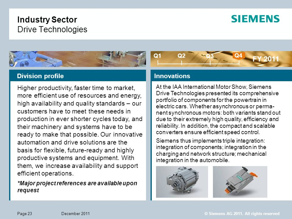 © Siemens AG 2011. All rights reserved December 2011Page 23 Industry Sector Drive Technologies Innovations FY 2011 Q1 Q4 Q2 Q3 Division profile Higher