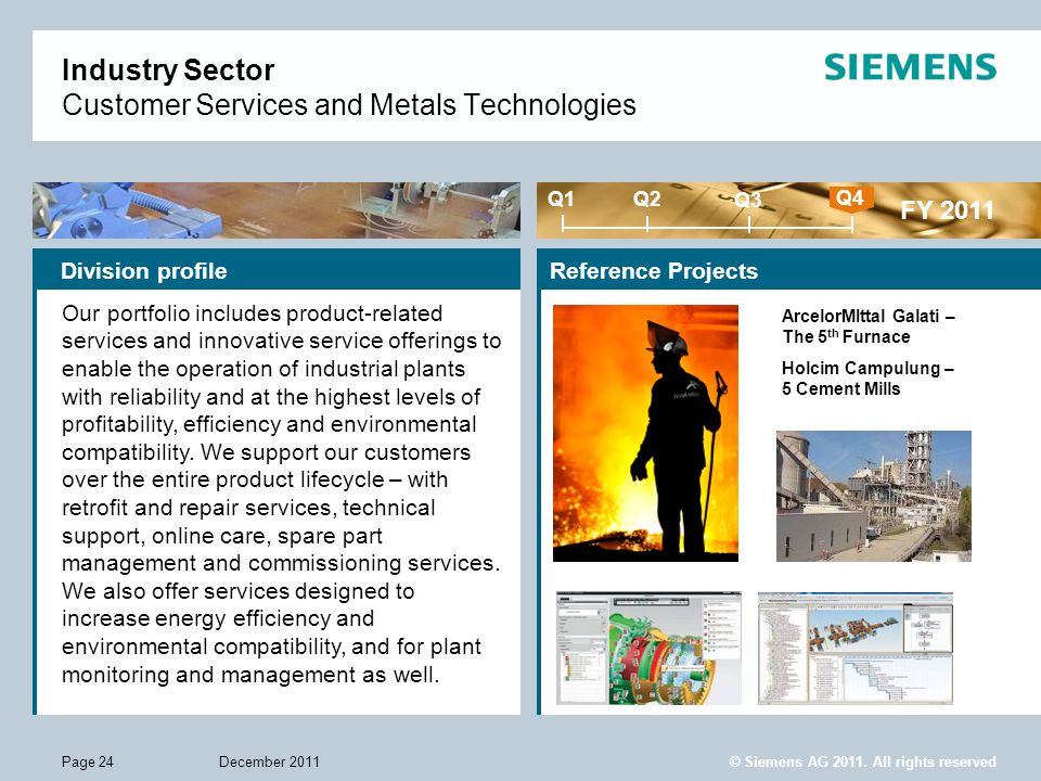 © Siemens AG 2011. All rights reserved December 2011Page 24 Industry Sector Customer Services and Metals Technologies Reference Projects FY 2011 Q1 Q4