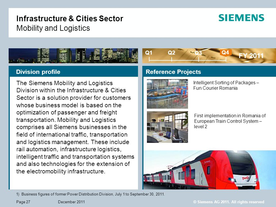 © Siemens AG 2011. All rights reserved December 2011Page 27 Reference Projects Infrastructure & Cities Sector Mobility and Logistics 1)Business figure