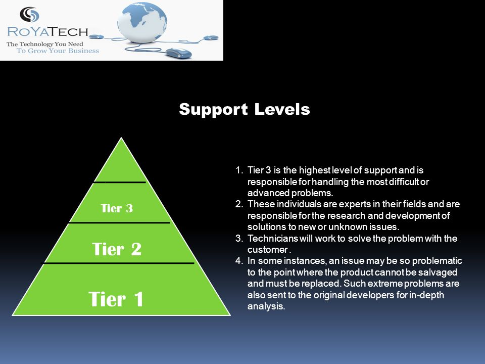 Tier 1 Tier 2 Tier 3 1.Tier 3 is the highest level of support and is responsible for handling the most difficult or advanced problems.