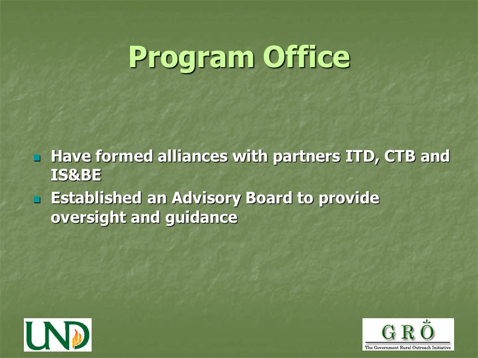 Program Office Have formed alliances with partners ITD, CTB and IS&BE Have formed alliances with partners ITD, CTB and IS&BE Established an Advisory Board to provide oversight and guidance Established an Advisory Board to provide oversight and guidance