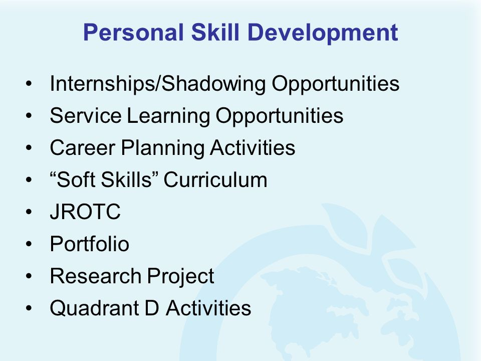 Personal Skill Development Internships/Shadowing Opportunities Service Learning Opportunities Career Planning Activities Soft Skills Curriculum JROTC