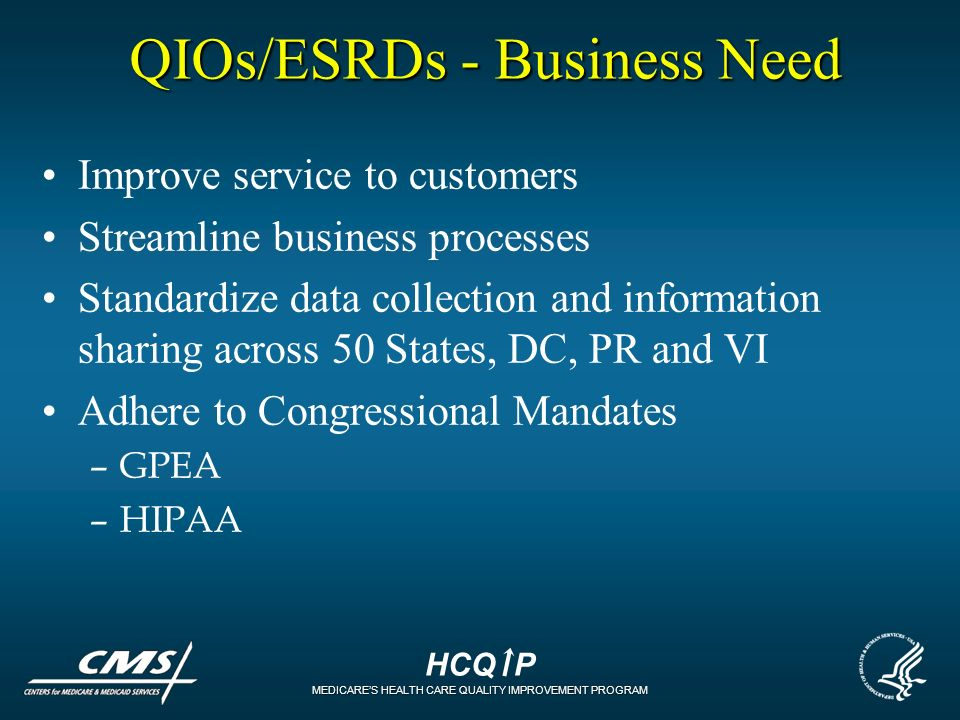 HCQ P MEDICARES HEALTH CARE QUALITY IMPROVEMENT PROGRAM QIOs/ESRDs - Business Need Improve service to customers Streamline business processes Standard
