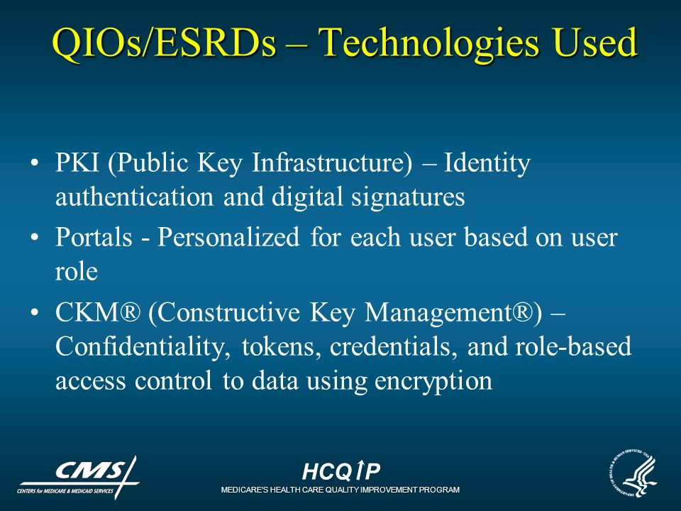 HCQ P MEDICARES HEALTH CARE QUALITY IMPROVEMENT PROGRAM QIOs/ESRDs – Technologies Used PKI (Public Key Infrastructure) – Identity authentication and d