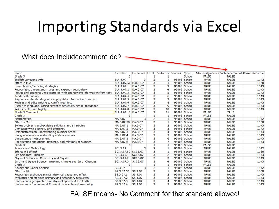 Importing Standards via Excel What does Includecomment do.