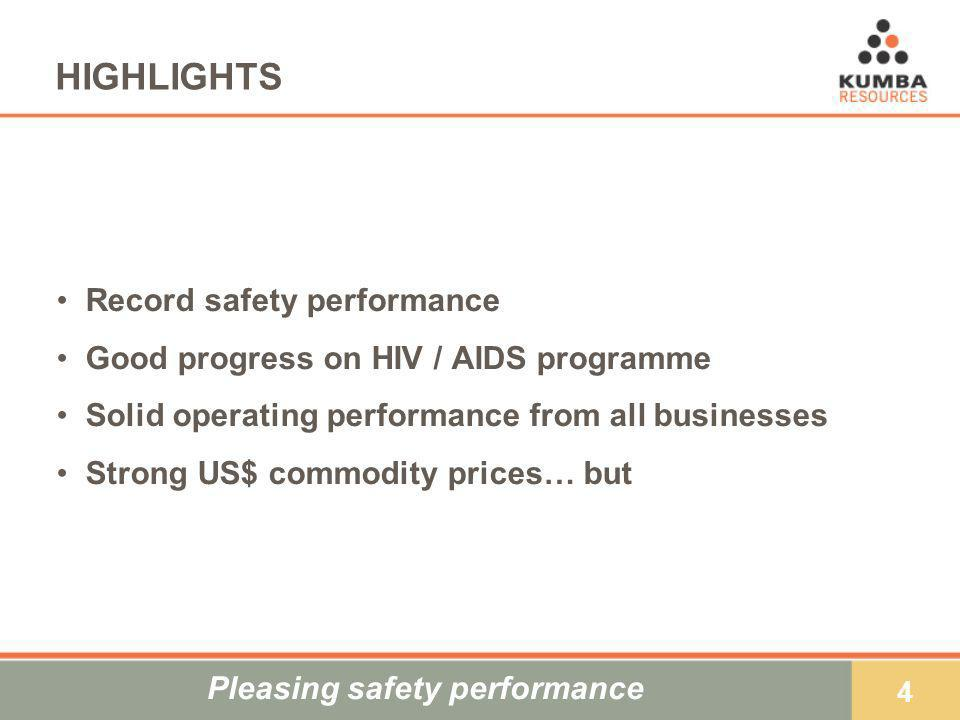 4 HIGHLIGHTS Record safety performance Good progress on HIV / AIDS programme Solid operating performance from all businesses Strong US$ commodity pric