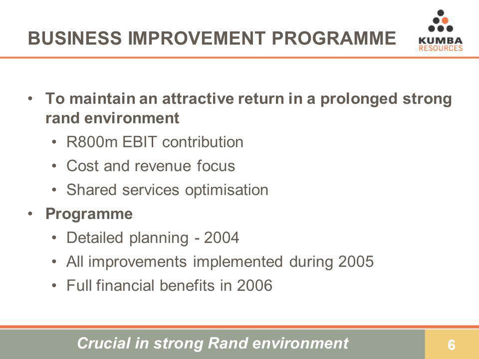 6 BUSINESS IMPROVEMENT PROGRAMME To maintain an attractive return in a prolonged strong rand environment R800m EBIT contribution Cost and revenue focu
