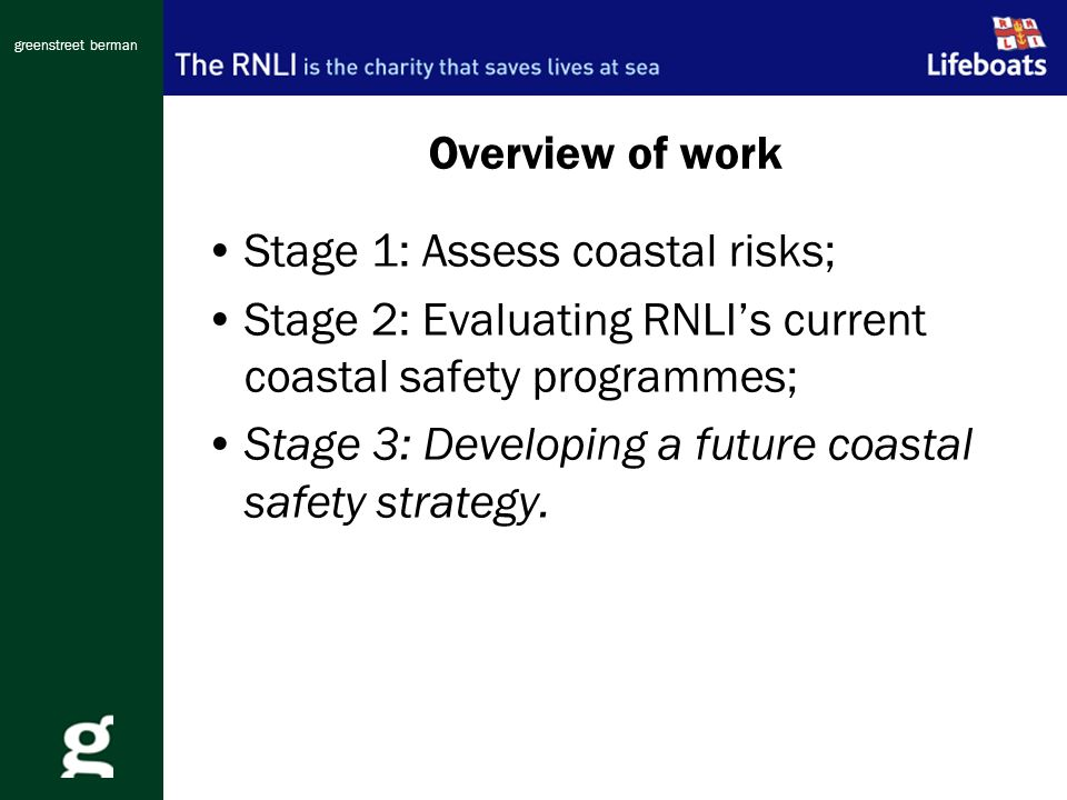 greenstreet berman Overview of work Stage 1: Assess coastal risks; Stage 2: Evaluating RNLIs current coastal safety programmes; Stage 3: Developing a future coastal safety strategy.