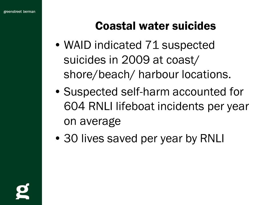 greenstreet berman Coastal water suicides WAID indicated 71 suspected suicides in 2009 at coast/ shore/beach/ harbour locations.