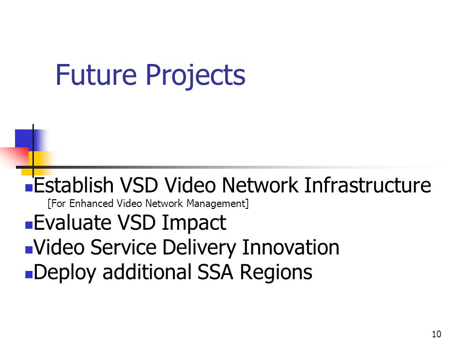 10 Future Projects Establish VSD Video Network Infrastructure [For Enhanced Video Network Management] Evaluate VSD Impact Video Service Delivery Innovation Deploy additional SSA Regions
