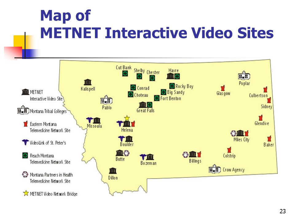 23 Map of METNET Interactive Video Sites