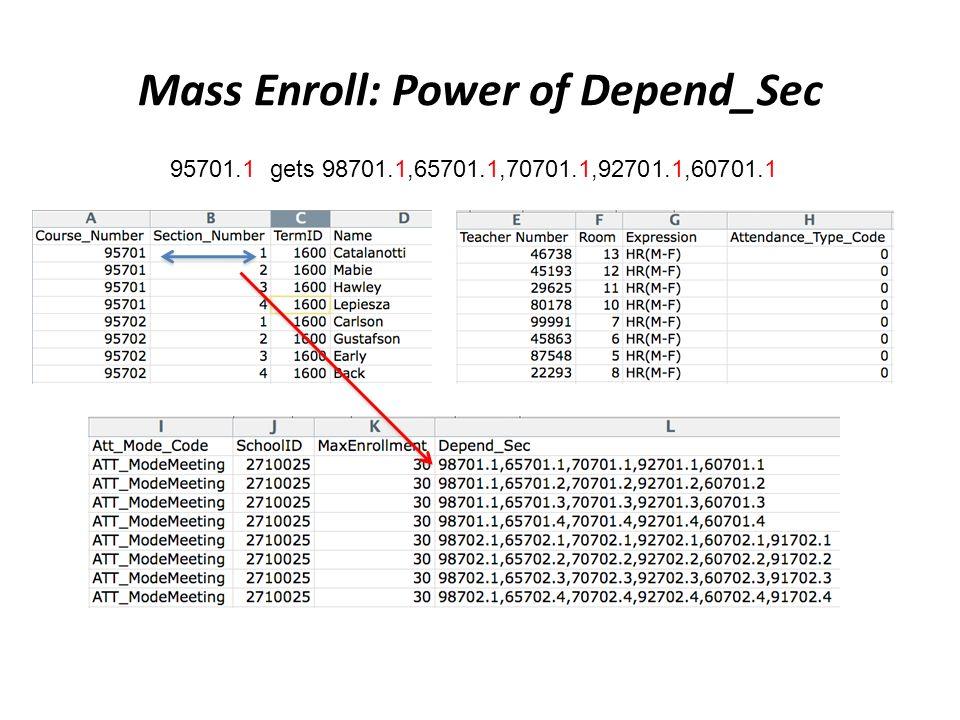 Mass Enroll: Power of Depend_Sec 95701.1 gets 98701.1,65701.1,70701.1,92701.1,60701.1